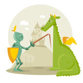 Cartoon knight with a dragon — Stock Vector