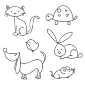 Hand drawn cartoon pets — Stock Vector