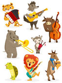 Animals playing intruments — Stock Vector