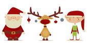 Retro Santa claus, Elf, Rudolph — Stock Vector