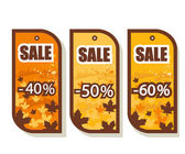 Set of 3 autumn sale tags — Stock Vector