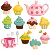 Tea set and cupcakes — Stock Vector