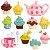 Tea set and cupcakes — Stock Vector