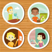 Green education stickers for kids — Stock Vector