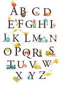 Cute cartoon alphabet — Stock Vector