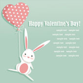 Valentine card with a cute bunny — Stock Vector