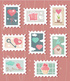 Set of valentines day postage stamps — Stock Vector