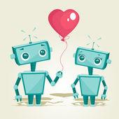 robots in love — Stock Vector