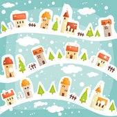 Winter village background — Stock Vector