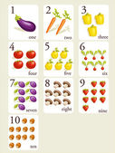 Fruits and vegetables number cards — Stock Vector