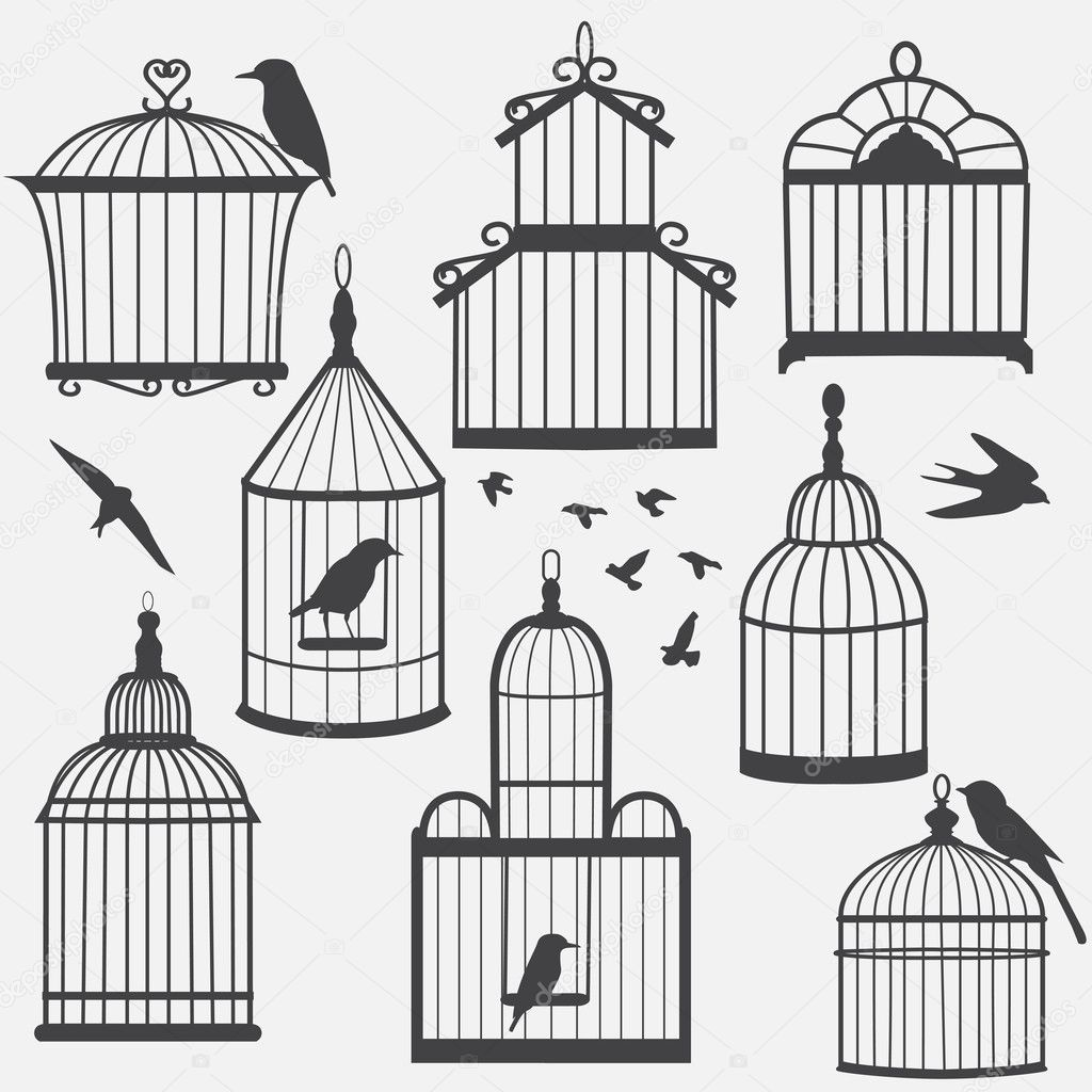 Bird Cages Drawings Bird Cages Silhouette Vector
