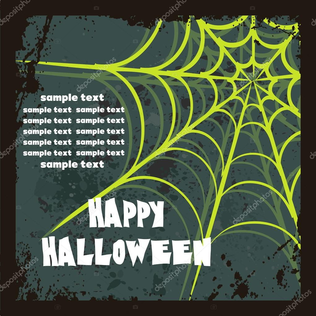 Halloween background with spider's web, vector illustration — Stock Vector #18222019