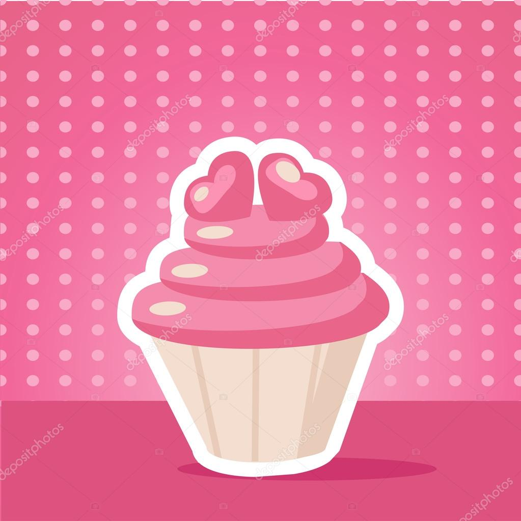 Vintage cupcake background vector illustration — Stock Vector #18222475