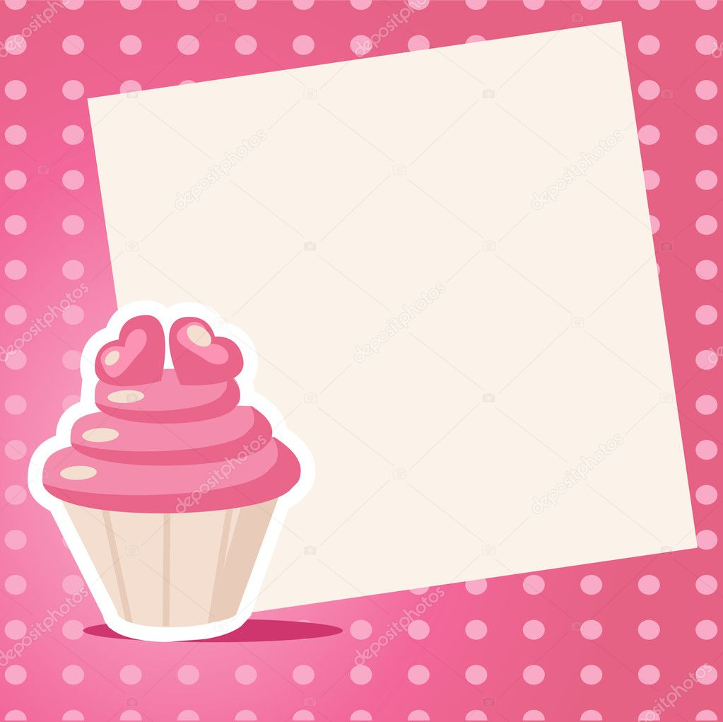 Vintage cupcake background with place for your text  Stock Vector #18222497