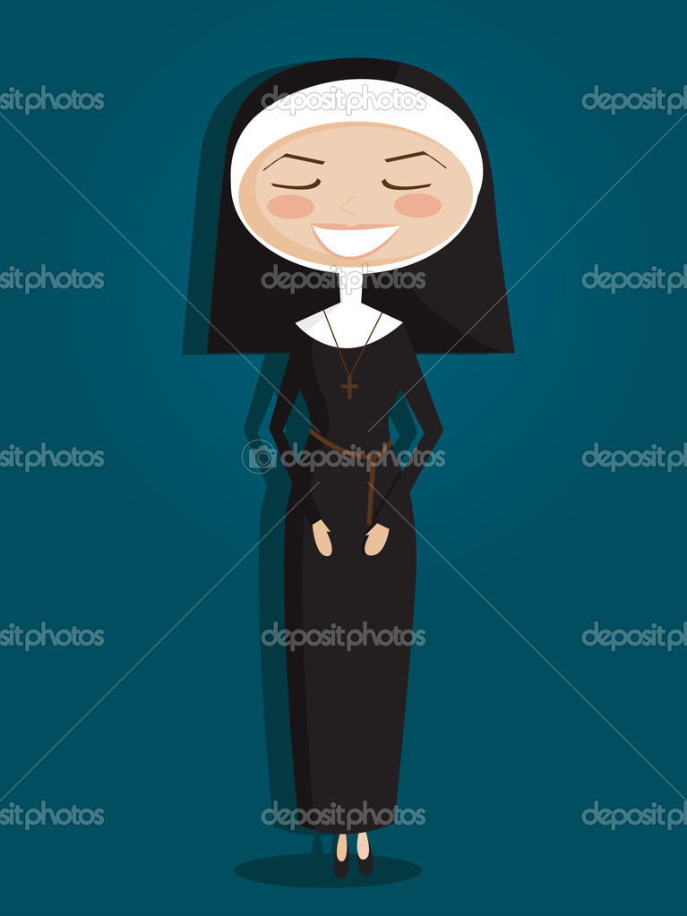 Retro cartoon nun ,vector illustration — Stock Vector #18222527