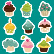 Cute cupcake stickers — Stock Vector #18248083