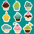 Cute cupcake stickers — Stock Vector