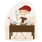 Retro woman working — Stock Vector