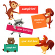 Set of labels with animals - Stock Photo
