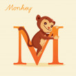 Animal alphabet with monkey - Stock Photo