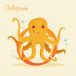 Animal alphabet with octopus - Stock Photo
