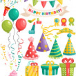 Birthday party elements set - Stock Photo