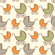 Hand drawn baby carriage pattern — Stock Photo
