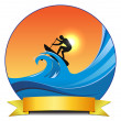 Surf paddling — Stock Vector #27280017