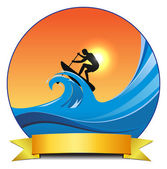 Surf paddling — Stock Vector