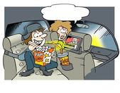 Daddy looking video movies on the back seat — Stockfoto