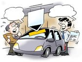 A car salesman and a customer — Stock Photo