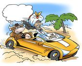A rich sheik take a drive with a sacred cow — Stock Photo