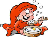 Hand-drawn Vector illustration of elf eating porridge — Stock Vector