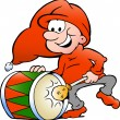 Hand-drawn Vector illustration of an elf playing christmas drum — Stock Vector
