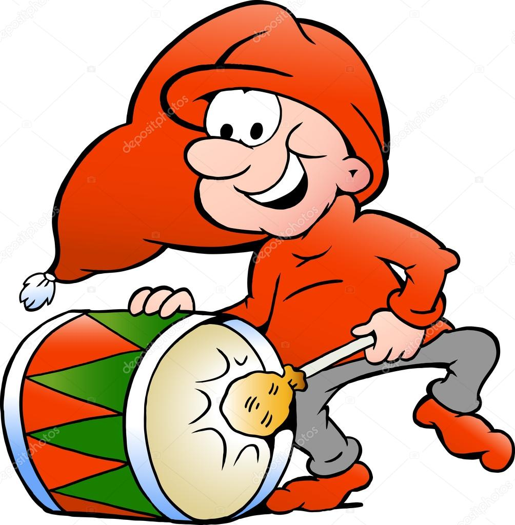 Hand-drawn Vector illustration of an elf playing christmas drum — Stock Vector #13220318