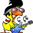 Stock Vector: Illustration of smart chicken playing on guitar