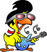 Illustration of an smart chicken playing on guitar — Stock Vector