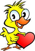 かわいい鶏の心を持ってのベクトルの手描きイラスト — ストックベクタ