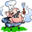 Hand-drawn Vector illustration of an Chef Pig standing on a BBQ barrel - Stock Vector