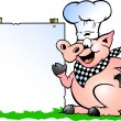 Stock Vector: Hand-drawn Vector illustration of Chef Pig standing and pointing towards sign