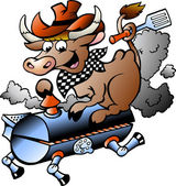 Hand-drawn Vector illustration of an Cow riding a BBQ barrel — Stock Vector