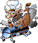 Hand-drawn Vector illustration of an Chef Cow riding a BBQ barrel — Stock Vector