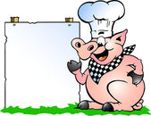 Hand-drawn Vector illustration of an Chef Pig standing and pointing towards a sign — Stock Vector