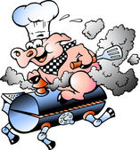 Hand-drawn Vector illustration of an Chef Pig riding an BBQ barrel — Stock Vector