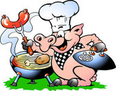 Hand-drawn Vector illustration of an Chef Pig standing and making BBQ — Stock Vector