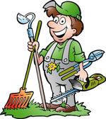 Hand-drawn Vector illustration of an happy Gardener standing with his garden tool — Stock Vector