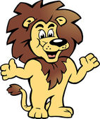 Hand-drawn Vector illustration of an Happy Proud Lion King, there welcomes You — Stock Vector