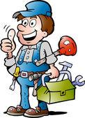 Hand-drawn Vector illustration of an happy Plumber Handyman, giving thumb up — Stock Vector