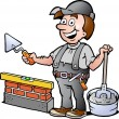 Stock Vector: Hand-drawn Vector illustration of Happy Bricklayer Handyman