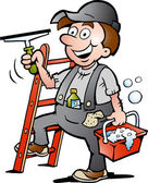 Hand-drawn Vector illustration of an Happy Window Cleaner — Stock Vector